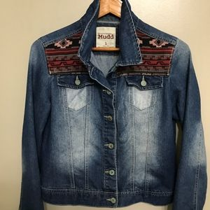 MUDD Distressed Aztec Jean Jacket Large